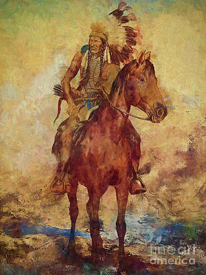 Animals Royalty-Free and Rights-Managed Images - Native warrior on horse  by Gull G
