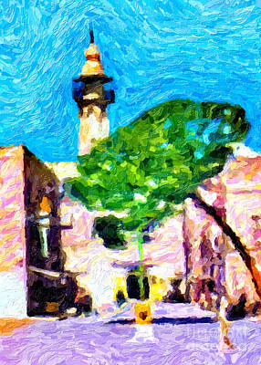 Wild Horse Paintings - Nativity Square in 1959 by Munir Alawi