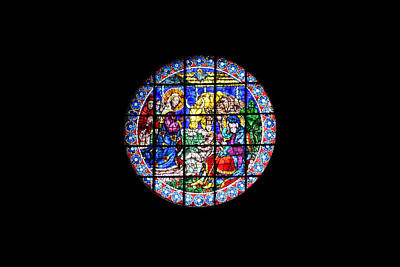 Moody Trees Rights Managed Images - Nativity Stained Glass Window Duomo Florence Royalty-Free Image by Marlin and Laura Hum