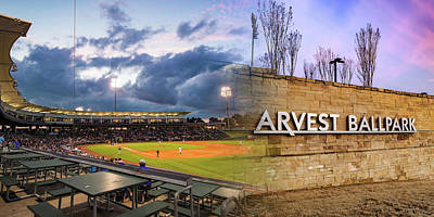Royalty-Free and Rights-Managed Images - Naturals Baseball Stadium Panoramic Collage At Arvest Park - Springdale Arkansas by Gregory Ballos