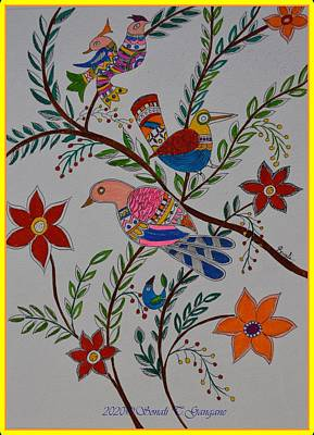 Achieving - Nature in Madhubani art style by Sonali Gangane