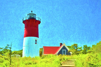 Whimsically Poetic Photographs - Nauset Light - Photopainting by Allen Beatty