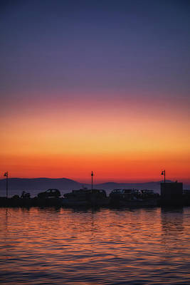 Royalty-Free and Rights-Managed Images - Naxos Town Sunset Silhouette by Chris Fletcher