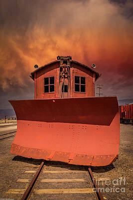 Target Threshold Watercolor - Nevada Northern Railroad Snowplow by Mitch Shindelbower