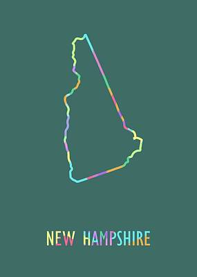 Royalty-Free and Rights-Managed Images - New Hampshire Pop Art Map Green BG by Ahmad Nusyirwan