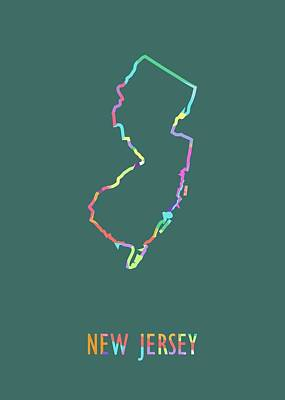 Royalty-Free and Rights-Managed Images - New Jersey Pop Art Map Green BG by Ahmad Nusyirwan