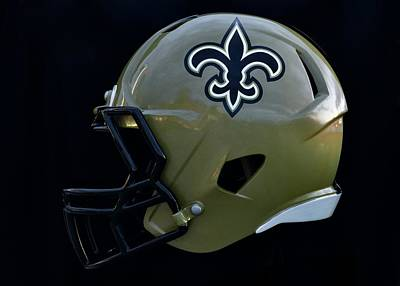 Sports Royalty-Free and Rights-Managed Images - New Orleans Saints Helmet by Frozen in Time Fine Art Photography
