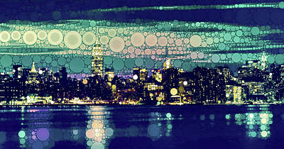 Surrealism Royalty-Free and Rights-Managed Images - New York City Skyline at Dusk by Susan Maxwell Schmidt
