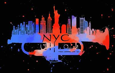 Music Paintings - New York City Trumpet Skyline by Dan Sproul