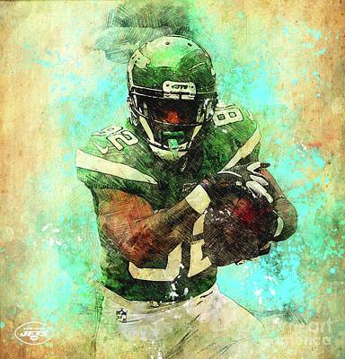Royalty-Free and Rights-Managed Images - New York Jets,NFL American Football Team,Football Player,Sports Posters for Sport Fans by Drawspots Illustrations