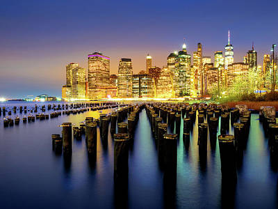 Photograph - New York Night Cityscape by Andrew George Photography