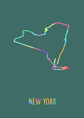 Royalty-Free and Rights-Managed Images - New York Pop Art Map Green BG by Ahmad Nusyirwan