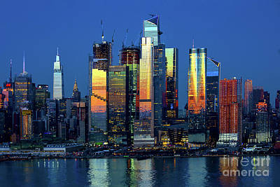 Bringing The Outdoors In - New York Skyline - Dusk Lights and Reflections by Regina Geoghan