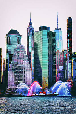 Photograph - New York Skyline East River FDNY Boat by Nishanth Gopinathan