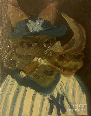Sports Paintings - New Yorker Rhinoceros by Free Spirit
