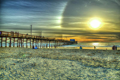 Royalty-Free and Rights-Managed Images - Newport Beach Pier Sunset Aurora Reflection 2 Orange County California Los Angeles Architectural Art by Reid Callaway