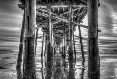 Abstract Shapes Janice Austin Royalty Free Images - Newport Beach Pier Sunset Reflections B W Orange County California Los Angeles Architectural Art Royalty-Free Image by Reid Callaway