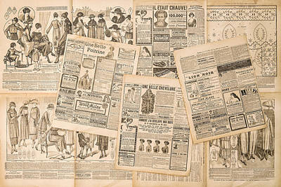 School Teaching - Newspaper pages with antique advertising. Fashion magazine by Julien