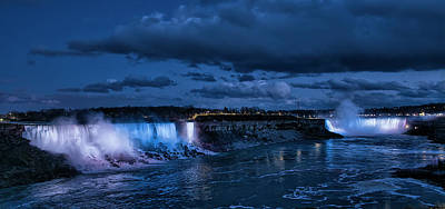 Photograph - Niagara Falls in Blue and White by Chris DeLaat