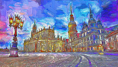 Thomas Kinkade Rights Managed Images - Night come to Dresden Royalty-Free Image by Nenad Vasic