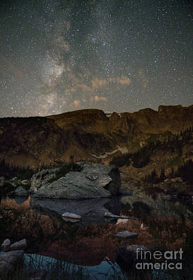 Photograph - Night sky over Forest Lake, Colorado by Keith Kapple
