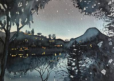 Colored Pencils - Night time at the Lake by Luisa Millicent