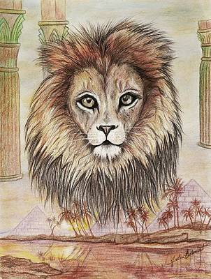 Drawing - Nile Lion by Julie Belmont