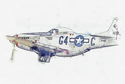 Staff Picks Cortney Herron - North American P-D Mustang F-AZSB  Nooky Booky IV USAAF RCAF Antique - Classic Aircraft - Classic Wa by Celestial Images