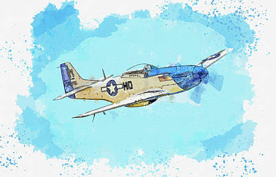 Staff Picks Cortney Herron - North American P-D Mustang in watercolor ca by Ahmet Asar by Celestial Images