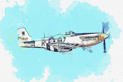 Staff Picks Cortney Herron - North American P- D Mustang Louisiana Kid N USAAF Antique - Classic Aircraft - Classic War Birds - P by Celestial Images