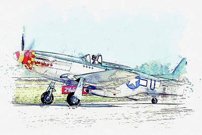Staff Picks Cortney Herron - North American P-D Mustang NC USAAF Wee Willy ll Antique - Classic Aircraft - Classic War Birds - Pl by Celestial Images