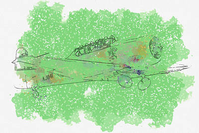 Royalty-Free and Rights-Managed Images - North American T Harvard AJ G-BJST Wacky Wabbit war planes in watercolor ca by Ahmet Asar  by Celestial Images