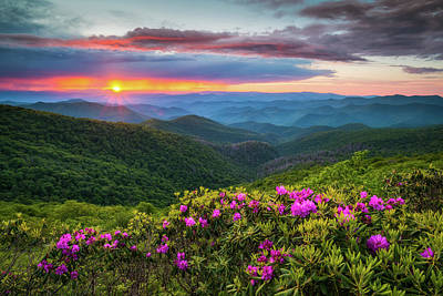 Landscapes Royalty-Free and Rights-Managed Images - North Carolina Blue Ridge Parkway Landscape Craggy Gardens NC by Dave Allen