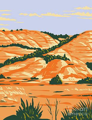 The Champagne Collection - North Dakota Badlands in Theodore Roosevelt National Park Located in Medora North Dakota WPA Poster Art by Aloysius Patrimonio