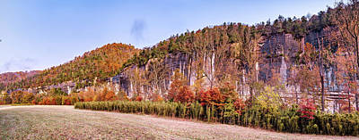 Landscapes Royalty-Free and Rights-Managed Images - Northwest Arkansas Roark Bluff Autumn Panoramic Landscape by Gregory Ballos