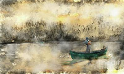 Old Masters Royalty Free Images - Nothing like fishing in the morning sunrise Royalty-Free Image by Michelle Ressler