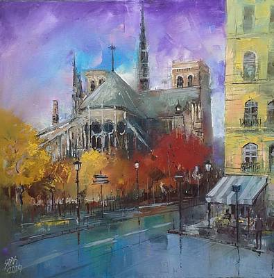 Amy Hamilton Animal Collage - Notre Dame in autumn colors by Lorand Sipos