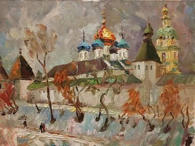Painting - Novospassky monastery on Taganka in March   by Nina Silaeva