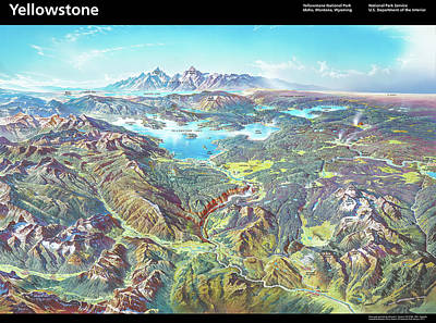 Thomas Kinkade - NPS Panorama of Yellowstone National Park - With Labels by Heinrich Berann