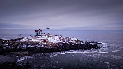 Winter Animals - Nubble Lighthouse in winter by Jeff Folger