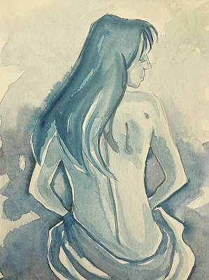 Spot Of Tea Rights Managed Images - Nude in Blue Royalty-Free Image by Luisa Millicent