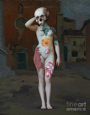 Surrealism Royalty-Free and Rights-Managed Images - Nude woman with skull head. Collage Surreal Art. by Damien Evans