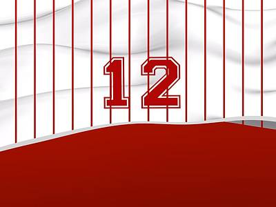 Sports Royalty-Free and Rights-Managed Images - Number 12 Over White And Red Sportive Baseball Fashion by Alberto RuiZ