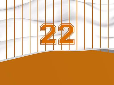 Sports Royalty-Free and Rights-Managed Images - Number 22 Over White And Orange Bseball Fashion by Alberto RuiZ