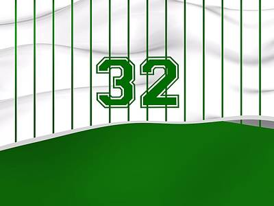 Sports Royalty-Free and Rights-Managed Images - Number 32 Over White And Green Sportive Baseball Fashion by Alberto RuiZ