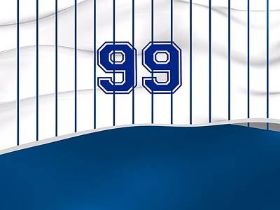 Sports Royalty-Free and Rights-Managed Images - Number 99 Over White And Blue Baseball Sportive Fashion by Alberto RuiZ