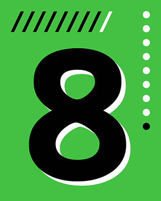 Royalty-Free and Rights-Managed Images - Number Eight - Pop Art Print - Green by Studio Grafiikka