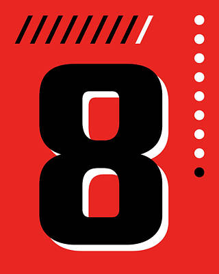 Royalty-Free and Rights-Managed Images - Number Eight - Pop Art Print - Red by Studio Grafiikka
