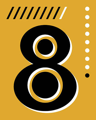Royalty-Free and Rights-Managed Images - Number Eight - Pop Art Print - Yellow by Studio Grafiikka