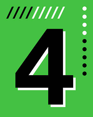 Royalty-Free and Rights-Managed Images - Number Four - Pop Art Print - Green by Studio Grafiikka